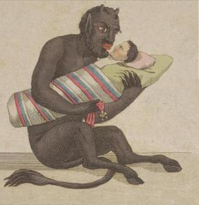 Black Devil With White Human Baby in Blanket