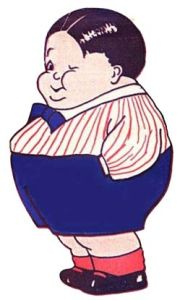 Fat Boy Winking Retro Cartoon