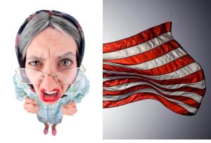 Angry Teacher and American Flag
