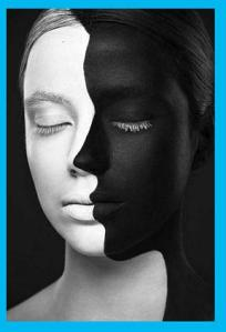 Black and White Face Blue Border