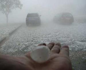Hail and Rain While Driving