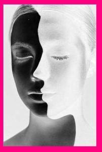 White and Black Face Fuscia Border