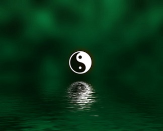 Yin-Yang On Green Over Water