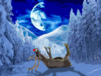 Dead Rudolph By Moonlight