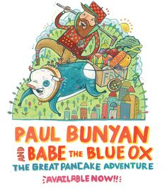 Paul Bunyan and Babe the Blue Ox Bright Illustration
