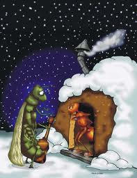 The Ant and the Grasshopper In Winter With Navy Sky