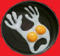 Scared Hands-Up Twin Egg in Frying Pan