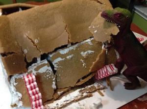 Dinosaur Eating Gingerbread House