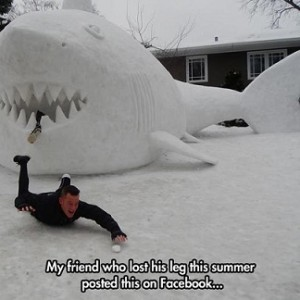 Snow Shark Eating Leg